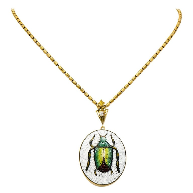 Victorian Diamond Micromosiac 14 Karat Gold Beetle Pendant Necklace For Sale