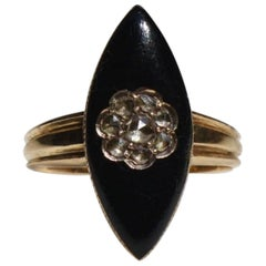 Victorian Diamond Mourning Black Enamel Rosecut .70 Carat 18K Gold Navette Ring