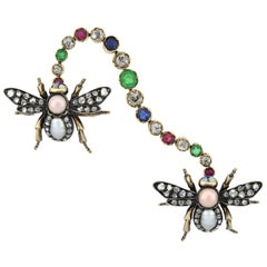 Victorian Diamond, Natural Pearl, and Gemstone Insect Scatter Pin