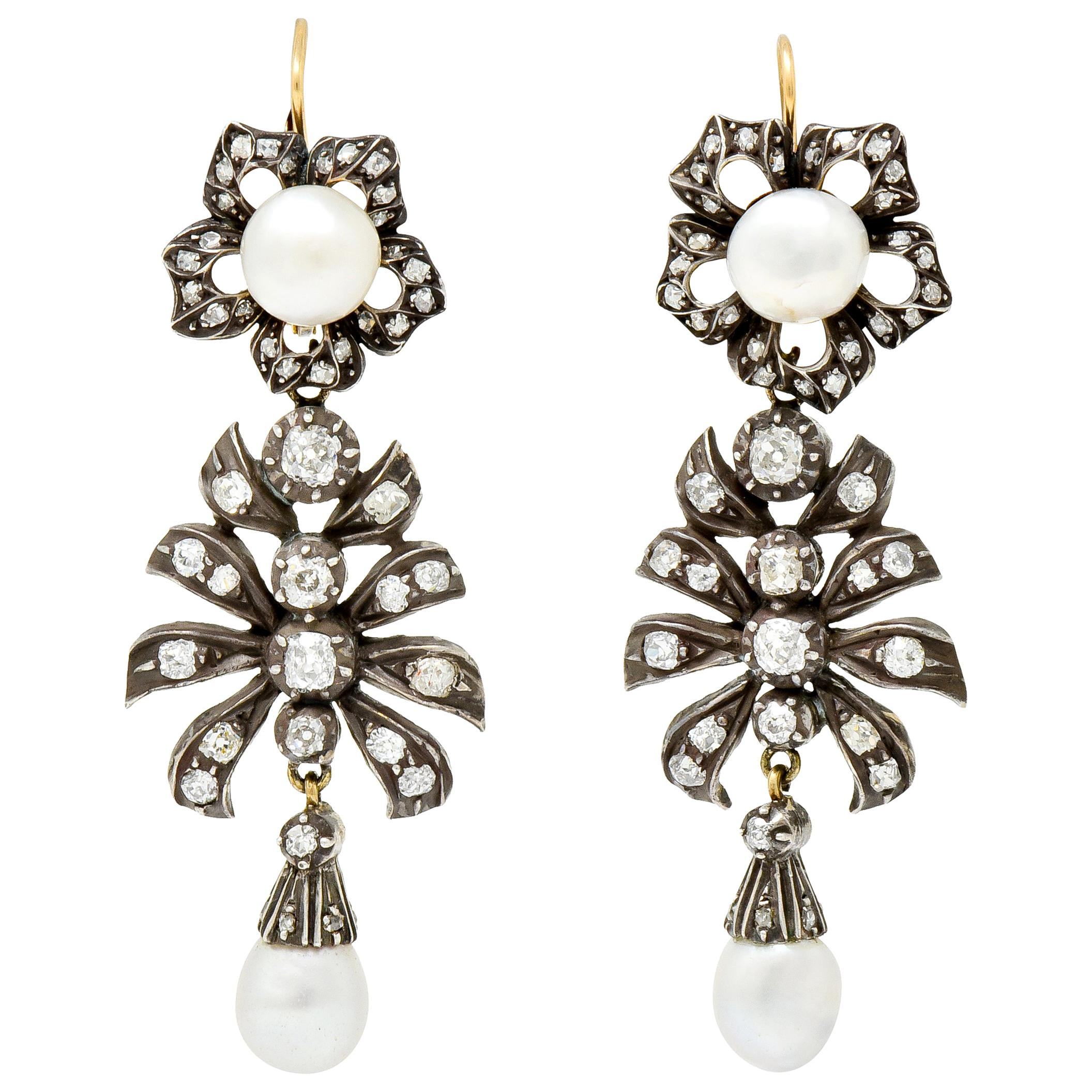 Victorian Diamond Natural Pearl Gold Silver Floral Drop Earrings GIA, circa 1860