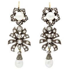 Victorian Diamond Natural Pearl Gold Silver Floral Drop Earrings GIA, circa 1860