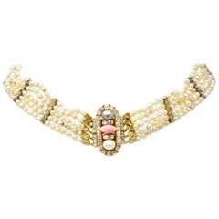 Victorian Diamond Natural Pink Conch Saltwater Pearl 18 Karat Gold Necklace