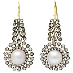 Victorian Diamond Natural Saltwater Pearl Gold Silver-Top Foliate Drop Earrings