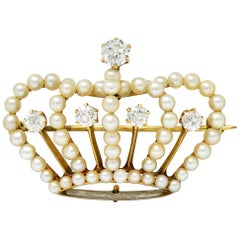 Victorian Diamond Pearl 14 Karat Gold Crown Pendant Brooch
