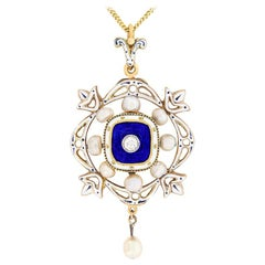 Victorian Diamond, Pearl and Enamel Pendant and Brooch, circa 1890s