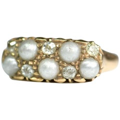 Victorian Diamond and Pearl Antique Ring