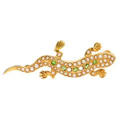 Victorian Diamond Pearl Demantoid Garnet 18 Karat Gold Lizard Brooch