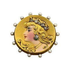 Victorian Diamond Pearl Enamel Queen Brooch-Pendant