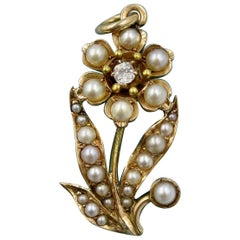 Victorian Diamond Pearl Flower Pendant Necklace Gold Belle Époque