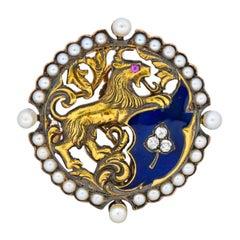 Victorian Diamond Pearl Ruby Enamel Stylized Lion Pendant Pin