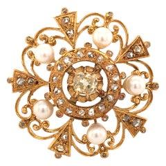 Victorian Diamond Pearl Yellow Gold Brooch or Pendant