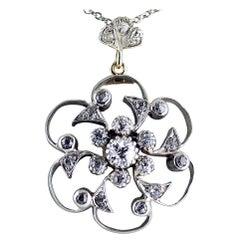 Victorian Diamond Pendant Brooch, circa 1890