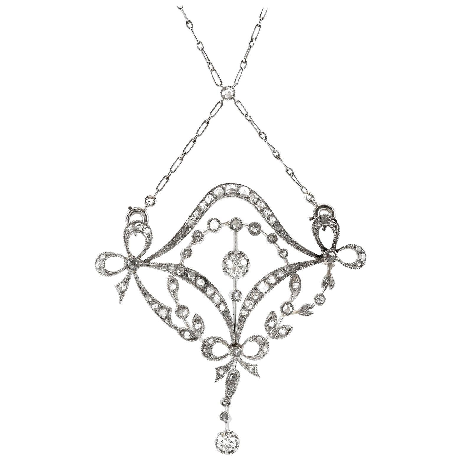 Art Deco Diamond Lavalier Pendant Necklace