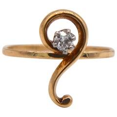 Viktorianische Fragezeichen 14 Karat Gold.25 Karat Minecut Konvertierung Diamantring