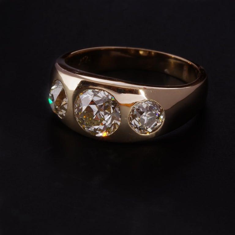 Men's Diamond Ring Victorian Three Carats For Sale 5