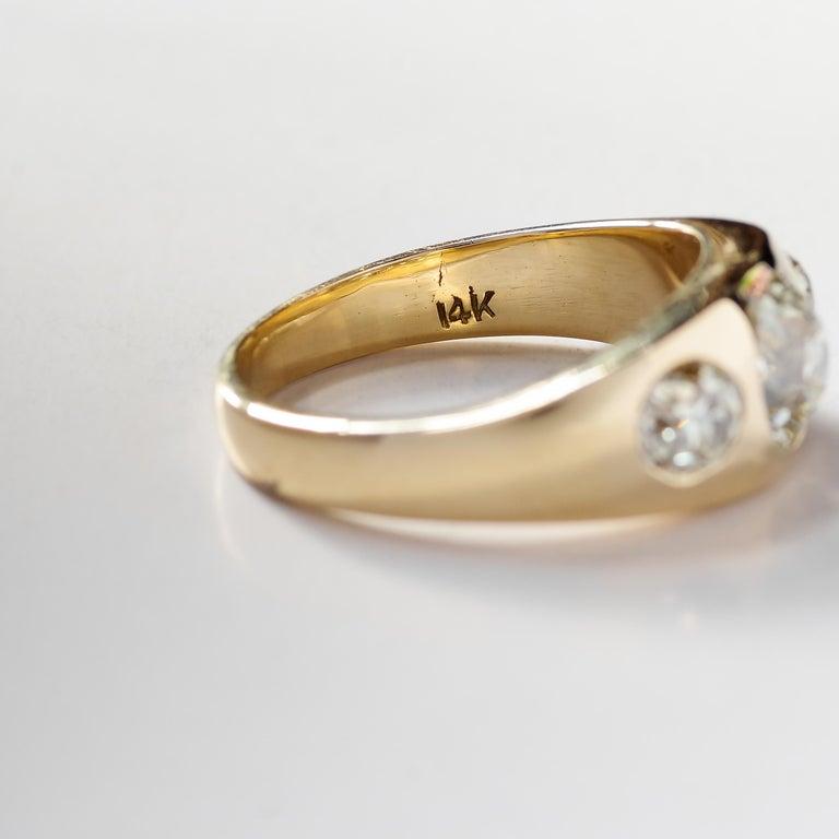 Men's Diamond Ring Victorian Three Carats For Sale 7