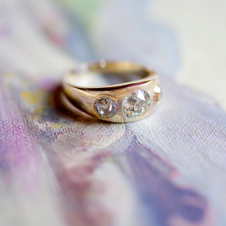 Men's Diamond Ring Victorian Three Carats For Sale 8
