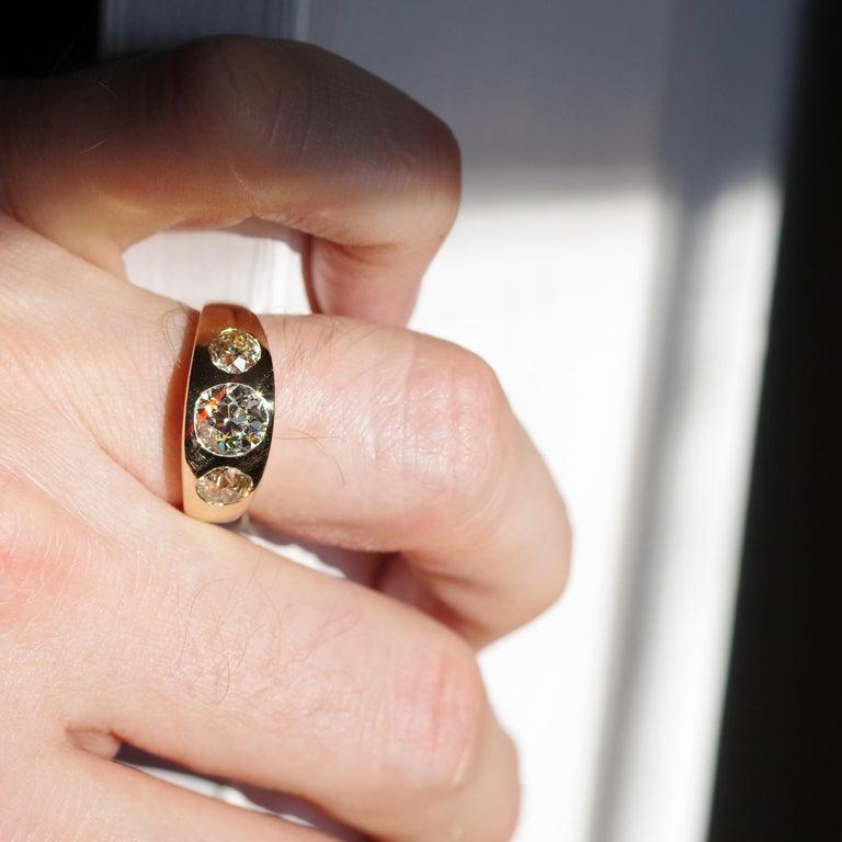 Men's Diamond Ring Victorian Three Carats For Sale 9