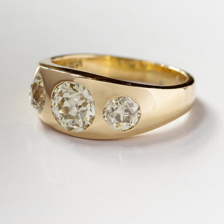 Old European Cut Men's Diamond Ring Victorian Three Carats For Sale
