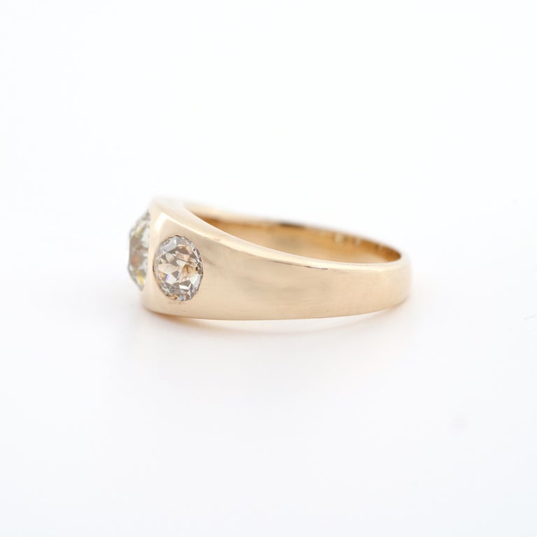 Men's Diamond Ring Victorian Three Carats In Excellent Condition For Sale In Southbury, CT