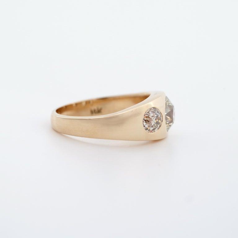 Women's or Men's Men's Diamond Ring Victorian Three Carats For Sale