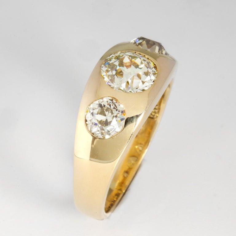 Men's Diamond Ring Victorian Three Carats For Sale 1
