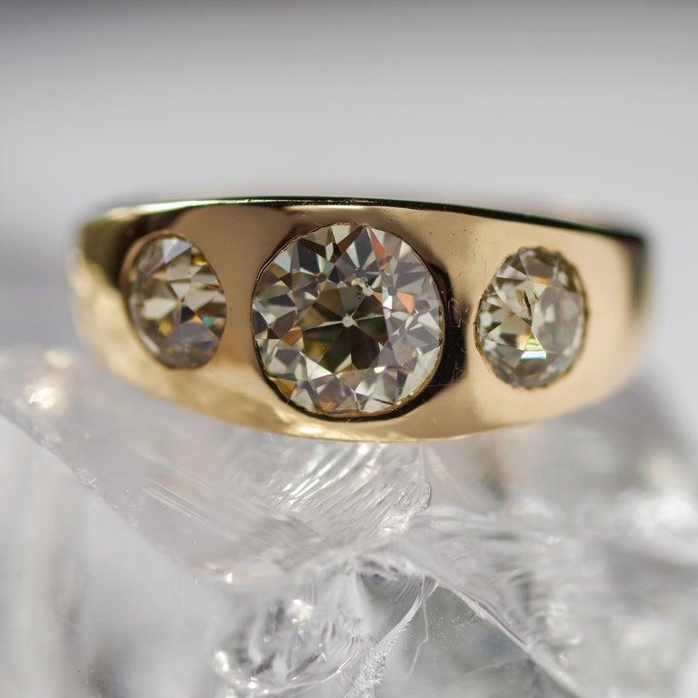 Men's Diamond Ring Victorian Three Carats For Sale 3