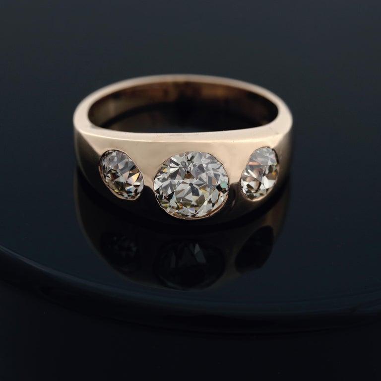 Men's Diamond Ring Victorian Three Carats For Sale 4