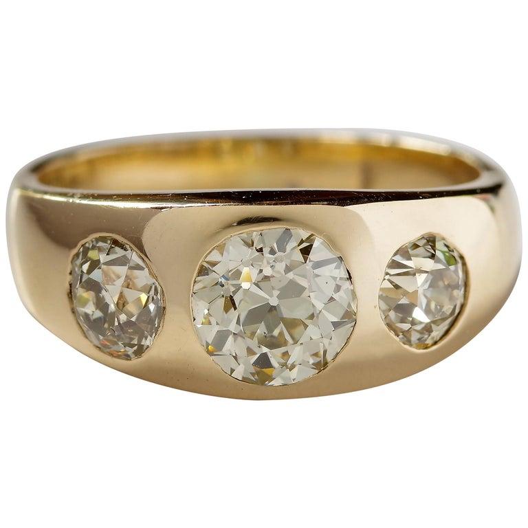 Men's Diamond Ring Victorian Three Carats For Sale