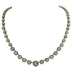 Victorian Diamond Riviere Necklace 17.45 Carat Antique Old Mine Cut Diamonds
