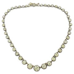 Victorian Diamond Riviere Necklace Silver Rose Gold French