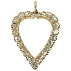 Victorian Diamond Rose Gold Heart Pendant Antique