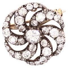 Victorian Diamond Round Brooch/Pendant, 1880s