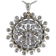 Victorian Diamond Round Pendant, circa 1880