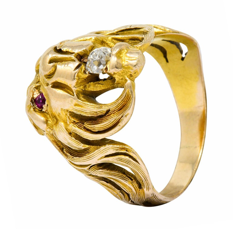 Victorian Diamond Ruby 14 Karat Gold Lion Band Ring For Sale 7