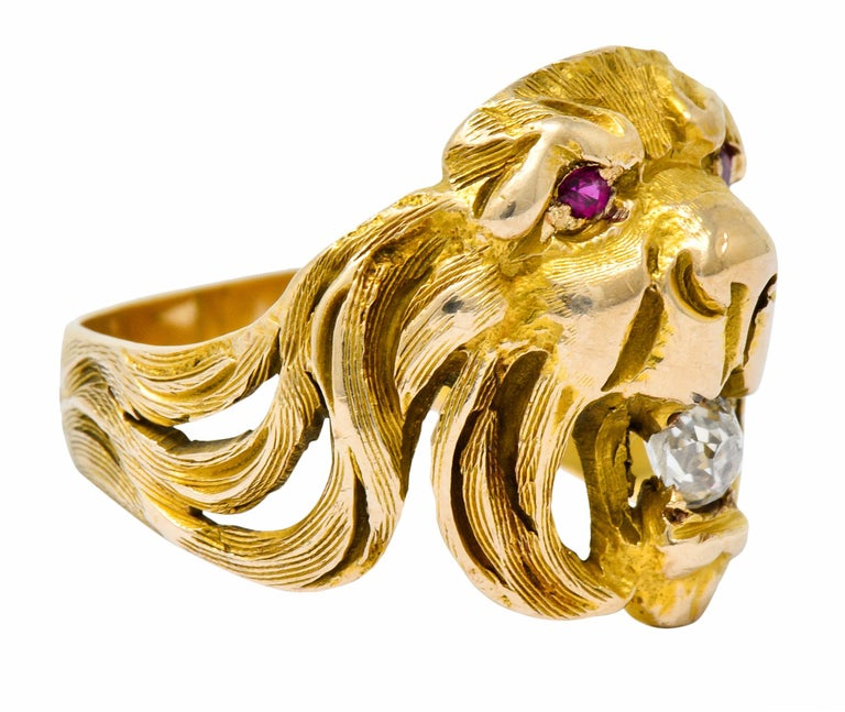 Round Cut Victorian Diamond Ruby 14 Karat Gold Lion Band Ring For Sale