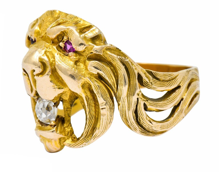 Victorian Diamond Ruby 14 Karat Gold Lion Band Ring For Sale 2