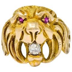 Victorian Diamond Ruby 14 Karat Gold Lion Band Ring
