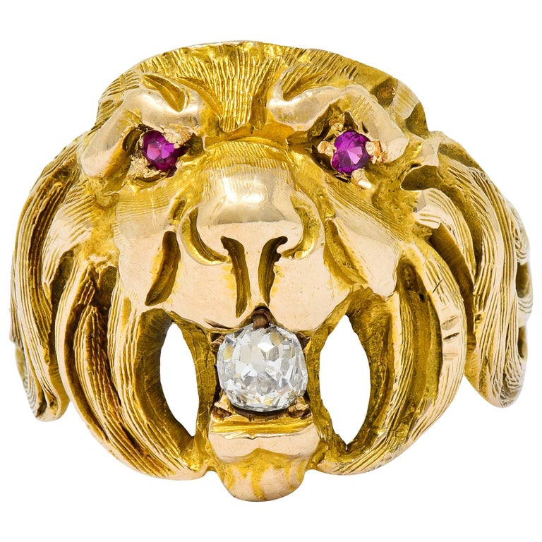 Victorian Diamond Ruby 14 Karat Gold Lion Band Ring For Sale