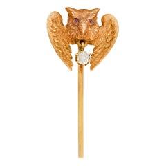 Victorian Diamond Ruby 18 Karat Gold Owl Stickpin, circa 1900