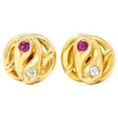 Victorian Diamond Ruby 18 Karat Yellow Gold Winding Snake Stud Earrings