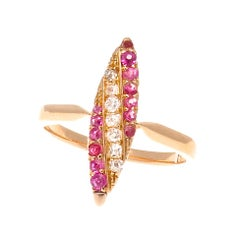 Victorian Diamond Ruby Gold Navette Ring