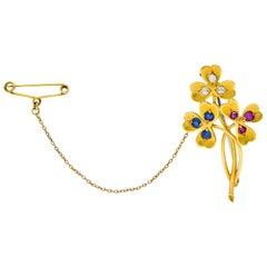 Victorian Diamond Ruby Sapphire 18 Karat Gold Clover Brooch