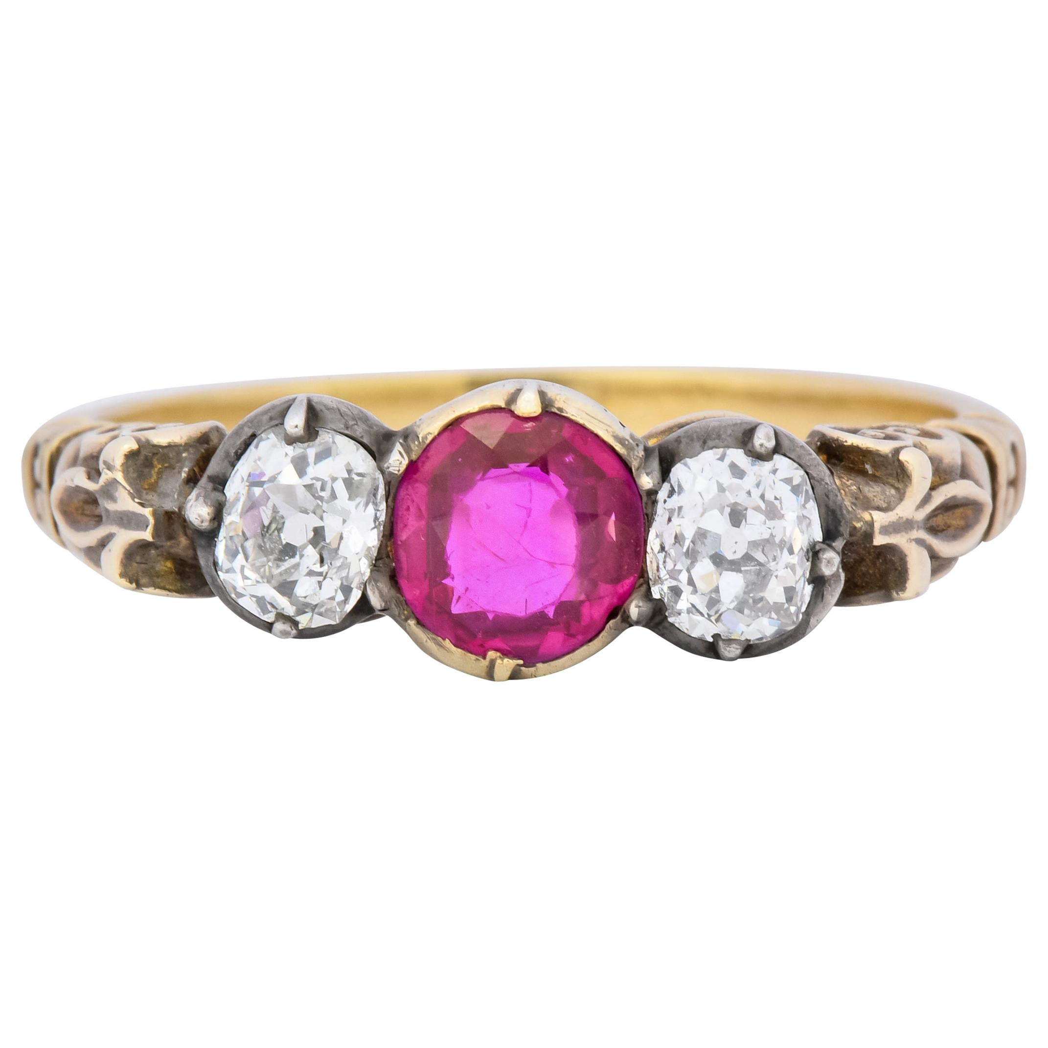 Victorian Diamond Ruby Silver-Topped 14 Karat Gold Three-Stone Ring