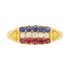 Victorian Diamond, Sapphire and Ruby Ring, circa 1890s