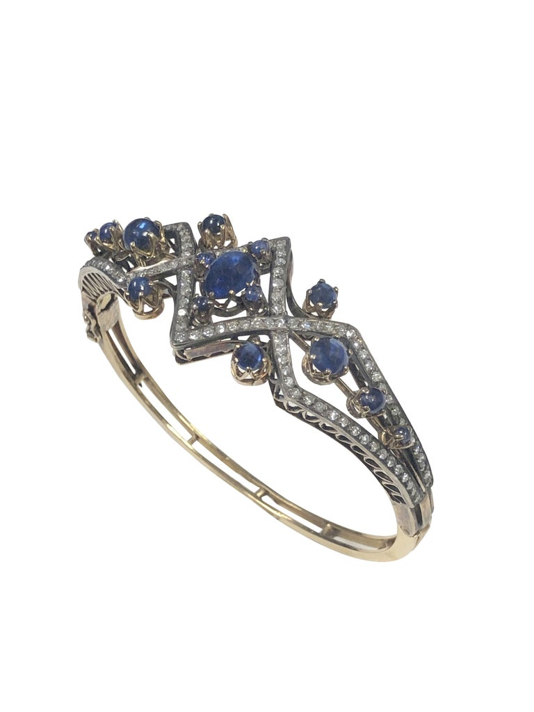 Victorian Diamond Sapphire Silver Top Gold Bangle Bracelet In Excellent Condition For Sale In Chicago, IL