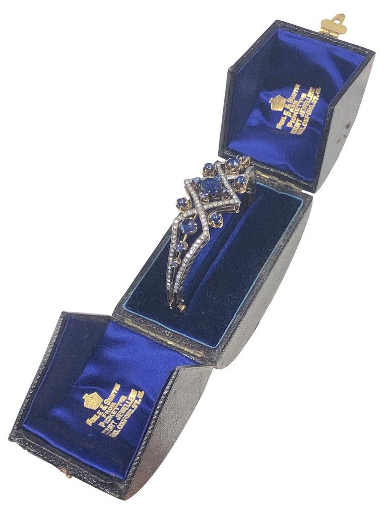 Victorian Diamond Sapphire Silver Top Gold Bangle Bracelet For Sale 1