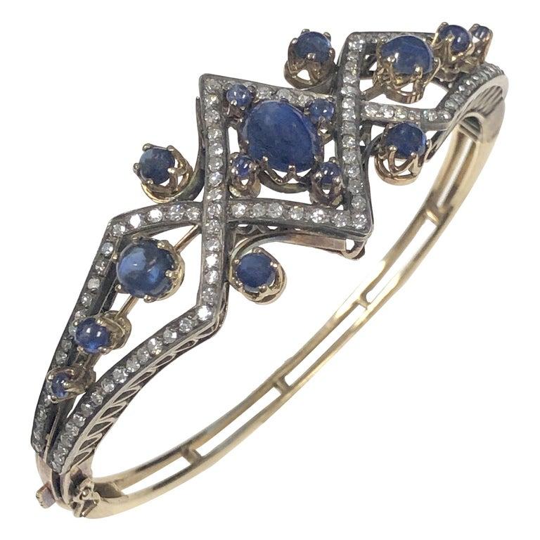 Victorian Diamond Sapphire Silver Top Gold Bangle Bracelet For Sale