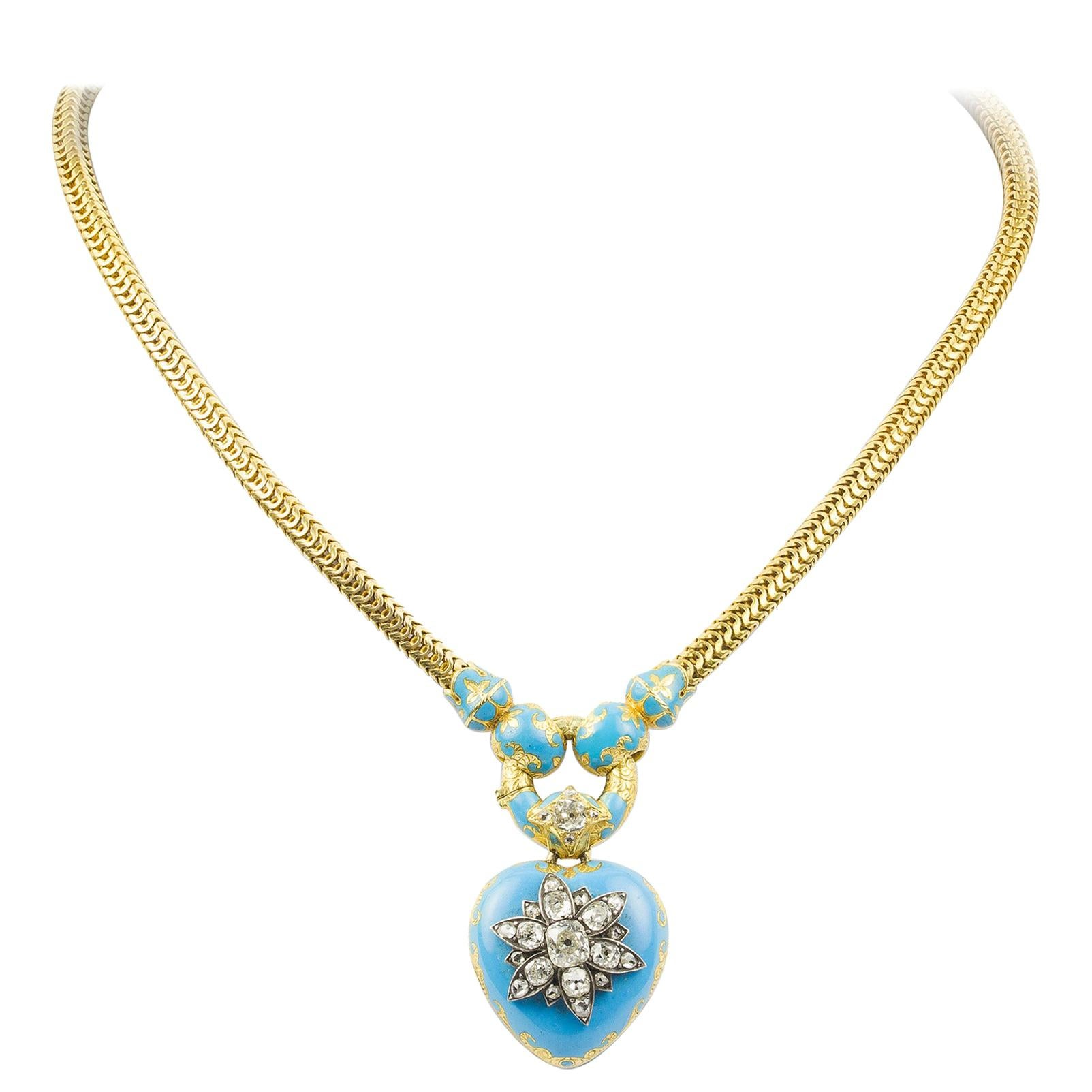 Victorian Diamond-Set Blue Enamel Heart Locket Necklace