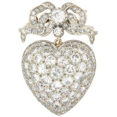 Victorian Diamond Set Heart Pendant or Brooch